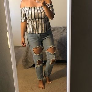 Kendall & Kylie Striped off the shoulder top